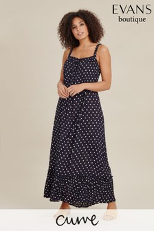 Evans Curve Navy Spot Maxi Dress
