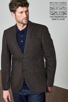 Signature British Wool Puppytooth Slim Fit Moons Blazer