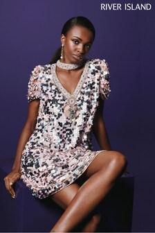River Island Pink/White Sequin V-Neck Mini Dress