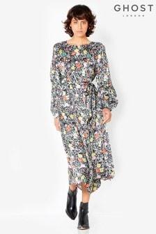 Ghost London Abigail Kleid mit Print, Schwarz