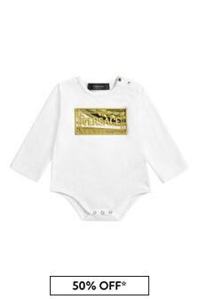Baby Unisex White Cotton Unisex Bodysuit