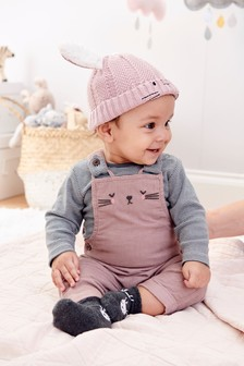 Cat Cord Dungarees And Bodysuit (0mths-2yrs)