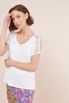 Lace Cold Shoulder T-Shirt
