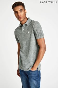 Jack Wills Grey Langold Jaspe Pique Polo