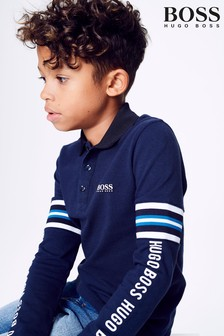 BOSS Navy Long Sleeve Tape Polo
