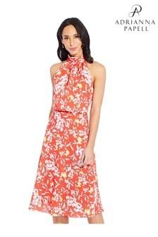 Adrianna Papell Orange Tea Time Floral Bias Dress