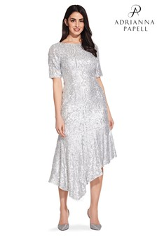 Adrianna Papell Grey Sequin Midi Dress