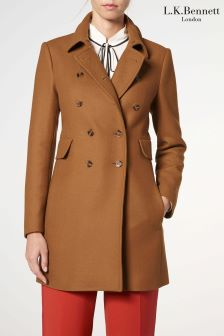 L.K.Bennett Camel Fellis Wool Mix Coat