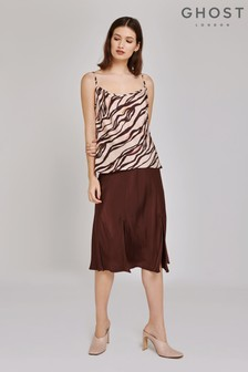 Ghost London Brown Lipa Satin Skirt
