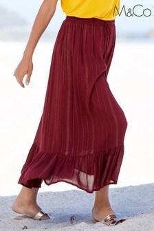 M&Co Red Shimmer Crinkle Skirt