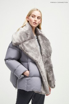 French Connection Grey Quilted Coat