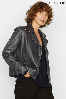 Jigsaw Black Clean Leather Biker Jacket