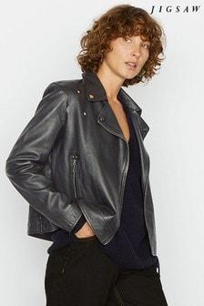 Jigsaw Black Clean Leather Biker Jacket