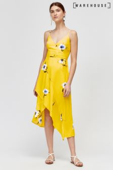Warehouse Yellow Buttercup Wrap Dress