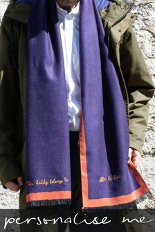 Personalised Mens Reversible Cashmere Blend Scarf by Studio Hop