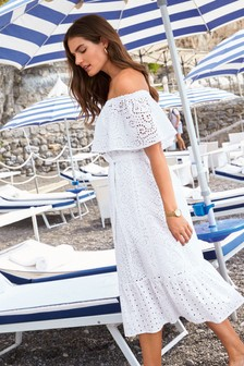 acc95a4c5d98 Broderie Off The Shoulder Dress