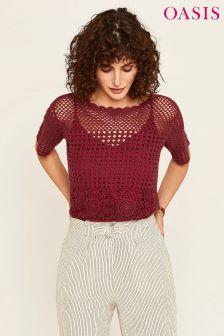 Oasis Burgundy Crochet Knit Top