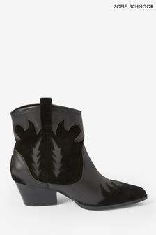 Sofie Schnoor Black Leather Western Boots