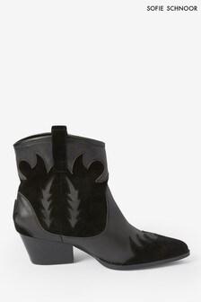 Sofie Schnoor Black Leather Western Boots