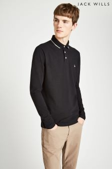 Jack Wills Black Homecross Long Sleeve Polo