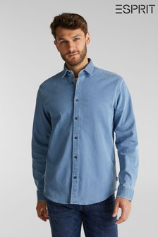 Esprit Mens Blue Long Sleeved Denim Woven Shirt