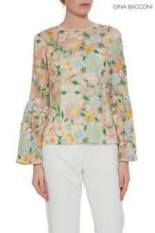 Gina Bacconi Floral Nuala Embroidered Top
