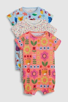 Floral And Animal Character Rompers Three Pack (0mths-2yrs)