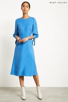Robe mi-longue en cupro Mint Velvet bleue