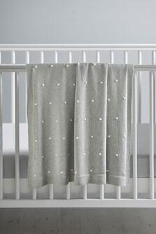 Knitted Pom Pom Baby Blanket
