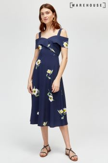 Warehouse Blue Buttercup Cold Shoulder Midi Dress