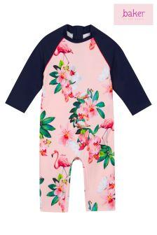 baker by Ted Baker Toddler Girl Pink Flamingo Floral Sunsafe Suit