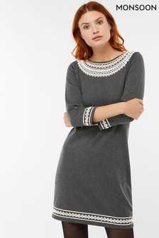 Monsoon Tiff Cornelli Kleid, grau