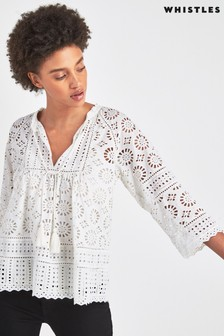 Whistles White Maggie Broderie Top