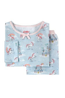 Cath Kidston® Blue Unicorns and Rainbows Girls Jersey PJs