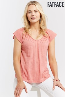 FatFace Pink Fawn Woven Mix Tee