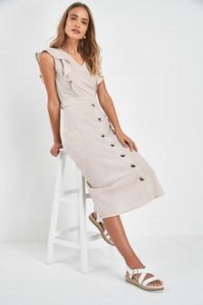 Stripe Frill Sleeve Button Dress