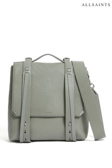AllSaints Grey Grained Vincent Grained Leather Backpack