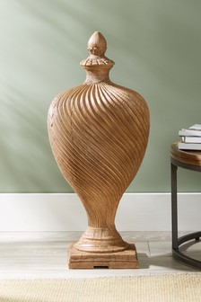 Turned Wood Effect Urn Sculpture