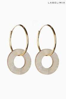 Mix/Wolf & Moon Disc Charm Hoop Earrings