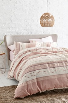 Textured Pink Stripe Duvet Cover And Pillowcase Set