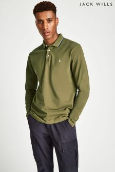 Jack Wills Olive Homecross Long Sleeve Polo