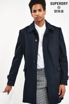 Темно-синее шерстяное пальто Superdry
