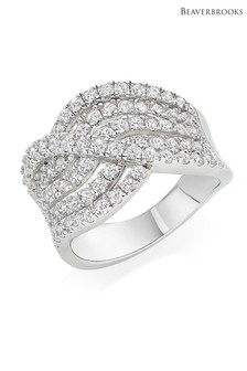 Beaverbrooks Silver Cubic Zirconia Wave Ring