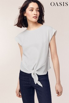 Oasis White Casual Roll Sleeve Tie Tee