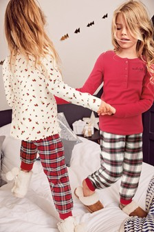2 Pack Floral With Check Bottoms Pyjamas (3-16yrs)