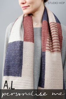 Personalised Check and Square Scarf With Feather Trim by Studio Hop
