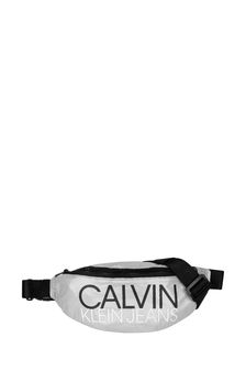 Calvin Klein Jeans Kids Metallic Silver Logo Belt Bag