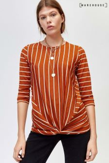 Warehouse Orange Stripe Twist Front Top
