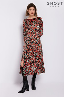 Ghost London Red Printed Rana Satin Dress