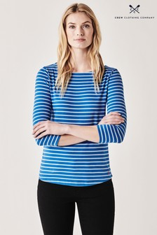 Crew Clothing Company Essential Breton Top, blau